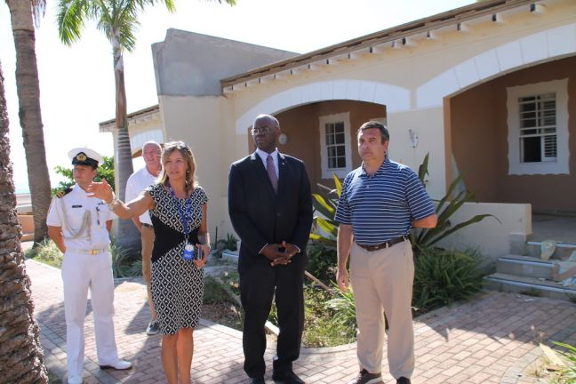 His Excellency Governor Eugene Holiday (2nd from right) during the tour of Divi Little Bay Resort.