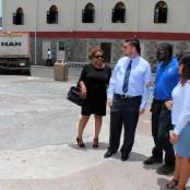 Minister Johnson visits demolition site. Checks on vendors