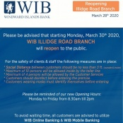 WIB to Reopen Illidge Road Branch as of Monday