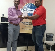 Yannick Hodge awarded First Competent Communicator by Toastmasters Club