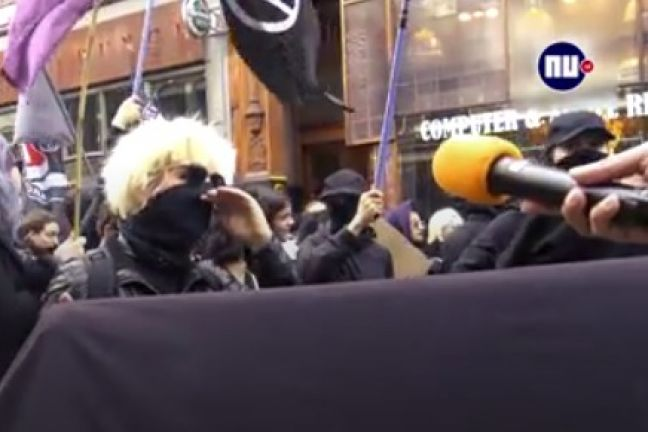 A screen shot of the woman during the demonstration.