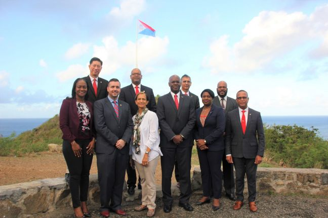 First Vice-President of the Collectivité Valérie Damaseau, Minister TEATT Stuart Johnson, President of Parliament Sarah Wescott Williams, Governor Eugene Holiday, Prime Minister Leona Romeo-Marlin, Minister ECYS Wycliff Smith, Minister VSA Emil Lee, Minister Justice Cornelius deWeever, Minister Finance Perry Geerlings, Minister VROMI Miklos Giterson.
